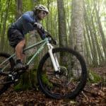 Ein Radfahrer am Mountainbike im Wald